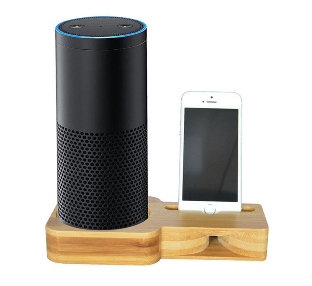 IOQSOF Speaker Stand for Echo and iPhone ,Bamboo Wood Charging Stand for Amazon Echo, Echo Plus and iPhone X/iPhone 8 and Samsung Galaxy & Most Smartphones