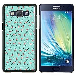 Caucho caso de Shell duro de la cubierta de accesorios de protección BY RAYDREAMMM - Samsung Galaxy A5 A5000 - Patrón del trullo rosado del pájaro verde