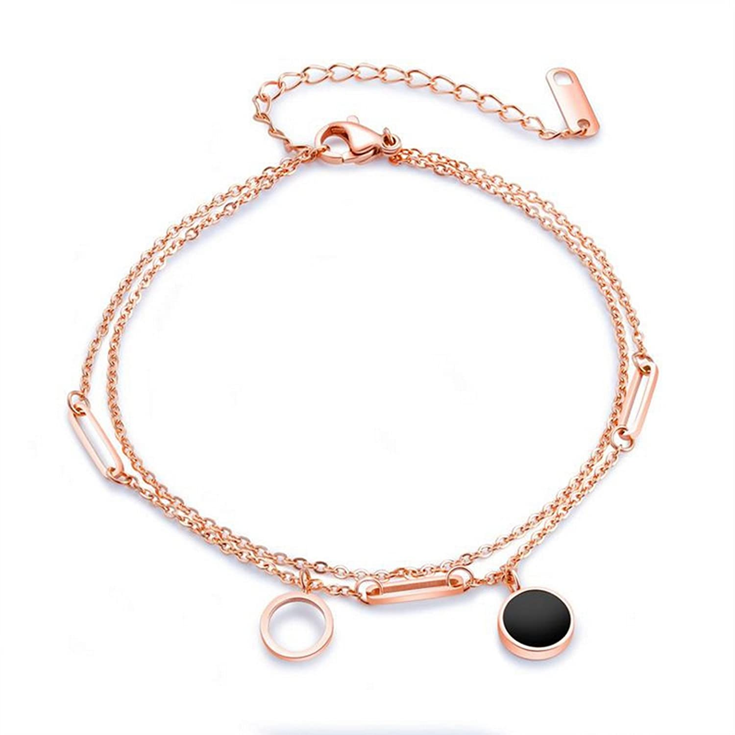 Epinki Women Rose Gold Ankle Bracelet Stainless Steel Anklet Bracelet Double Chain Round Charms ZGF0121AN040