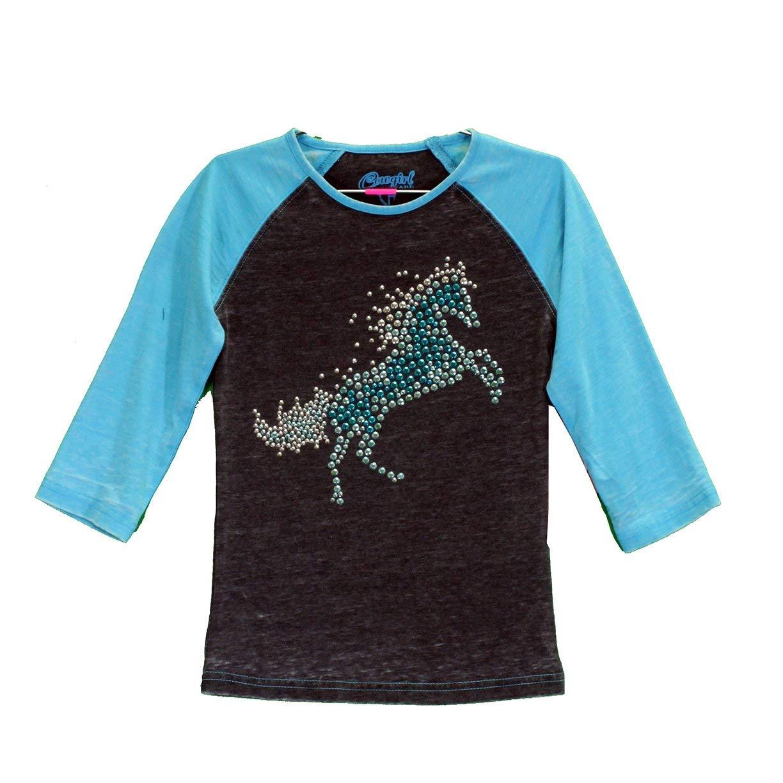 Cowgirl Hardware Raglan Crystal Fire Horse T-Shirt