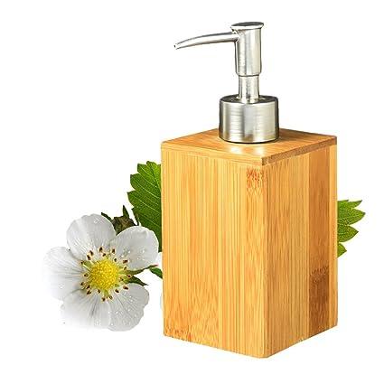 Somedays Dispensador de jabón de bambú para baño o baño, dispensador de jabón líquido para
