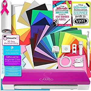 Silhouette Pink CAMEO 3 Creative Bundle with Bluetooth, 12 Oracal, 651 Sheets and 12 Siser Easyweed Heat Transfer Sheets