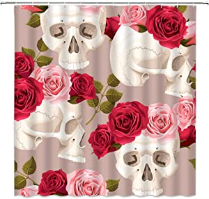 XZMAN Floral Skull Shower Curtain Sugar Skull Skeleton Halloween Horror Art Home Decor Pink Red Rose Flower Polyester Fabric Bathroom Curtains Quick Drying 70 x 70 Inch Include Hooks