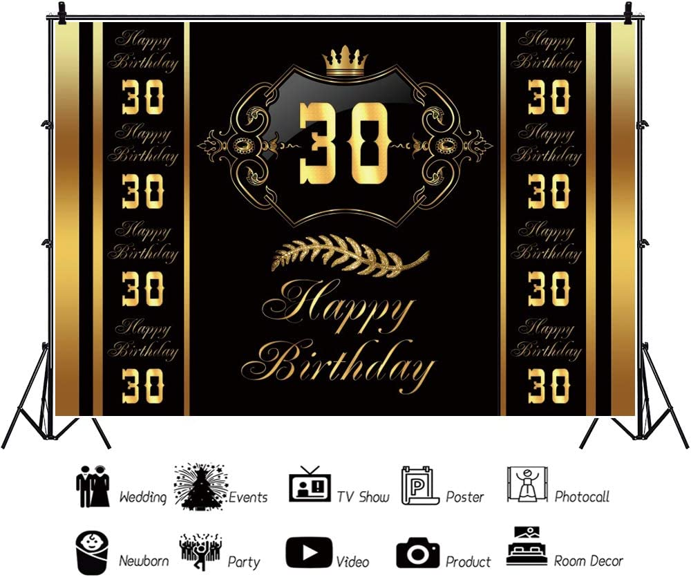 YEELE 30th Birthday Golden Crown Backdrop 10x8ft Thirty Year Old Anniversary Photography Background 30 Year Old Lady Gentlemen Birthday Banner Photobooth Photoshoot Props Digital Wallpaper