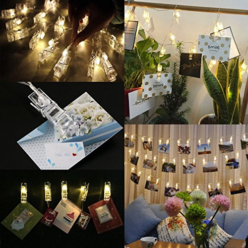 Neretva 40 LEDs Photo Clips String Lights, Christmas Lights Starry light Wall Decoration Light Wedding Party Christmas Home Decor Lights for Hanging Photos Paintings Pictures Card and Memos (Lights Hanging Wedding)