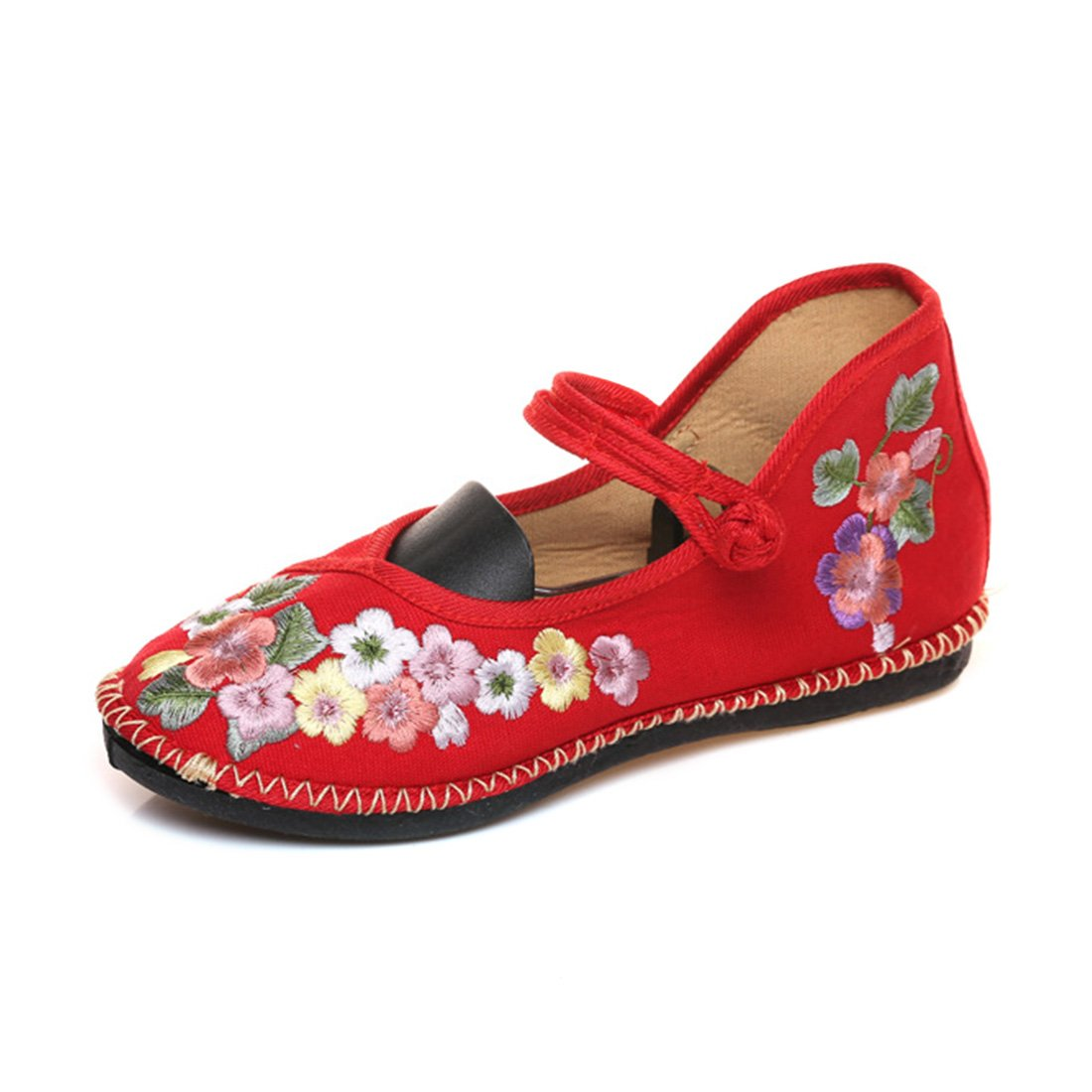 YIBLBOX Women's Chinese Strap Mary Jane Flats Shoes Strappy Summer Small Flowers Embroidery Dress Shoes