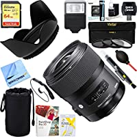 Sigma (340205) Art Wide Angle Lens 35 mm F/1.4 DG DG HSM for Sony + 64GB Ultimate Filter & Flash Photography Bundle