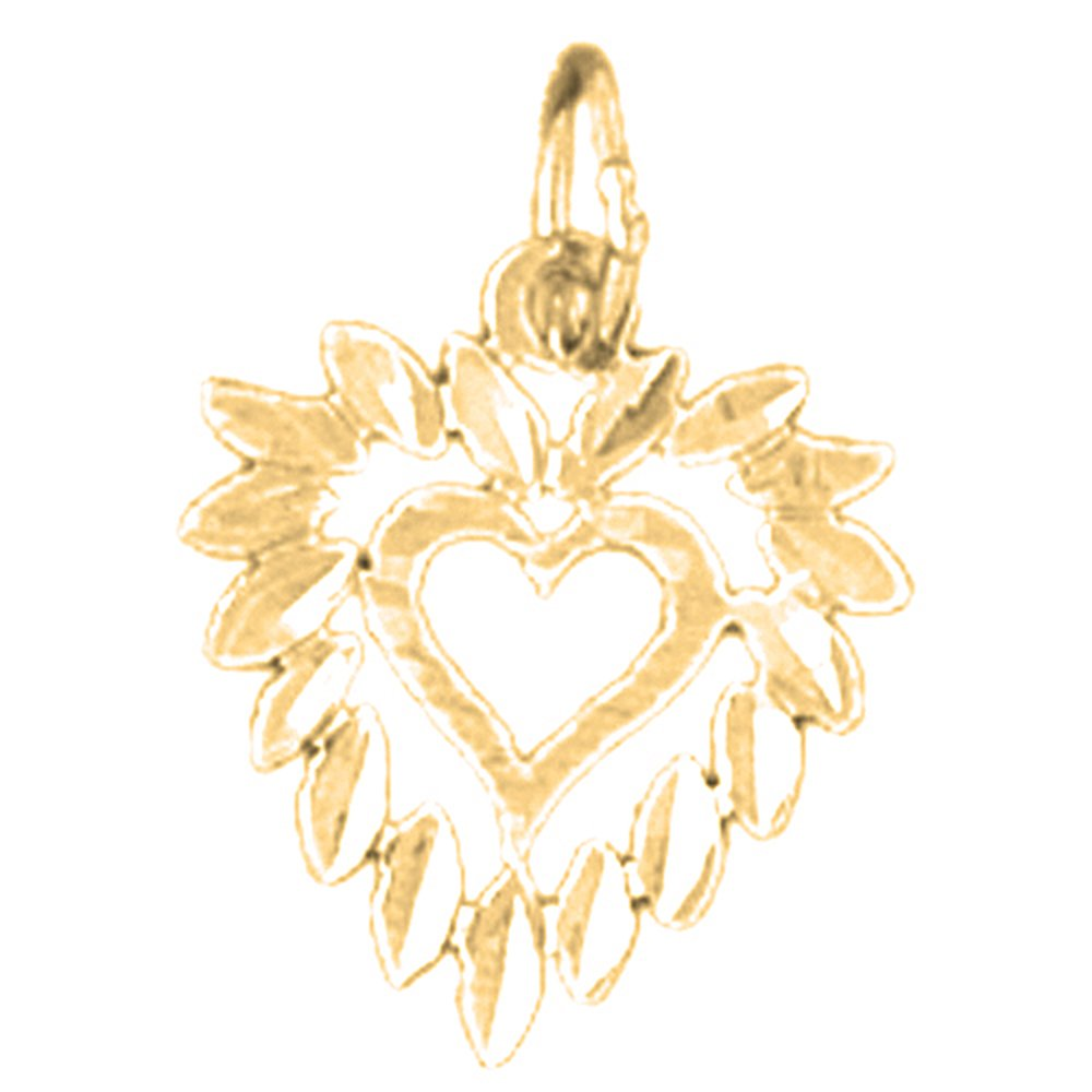 Jewels Obsession Heart Charm Pendant 14K Yellow Gold Heart Pendant 16 mm
