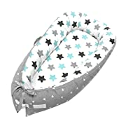 Baby Lounger and Baby Nest Sharing Co Sleeping Baby Bassinet - 100% Soft Cotton Cosleeping Baby Bed Premium Quality and Bigger Size (0-24months) -Breathable & Hypoallergenic Portable Crib(Grey)