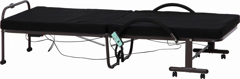 不二貿易 折りたたみ電動ベッド 高床タイプ キャスター付き ブラック 10802 B019CFDUNC ブラック/高床タイプ