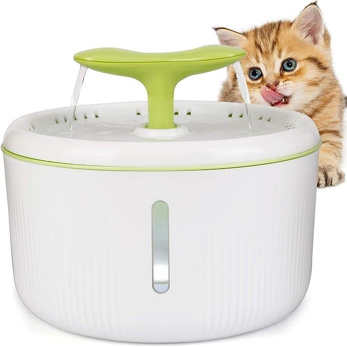 amzdeal Fuente de Agua para Gatos Silencioso 2L - Bebedero Automático con 2 Formas de Flujo, Dispensador Circular con Ventana de Agua y Luz Nocturna LED en Forma de Brote, para Mascotas
