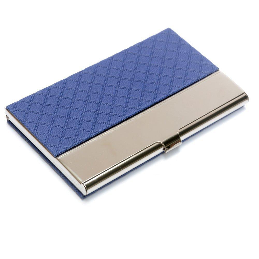 Bolsillo de la tarjeta de visita de cuero de acero inoxidable en relieve tarjeta de crédito titulares de la tarjeta de negocios organizador de la tarjeta con franela forrado (Azul) CentBest