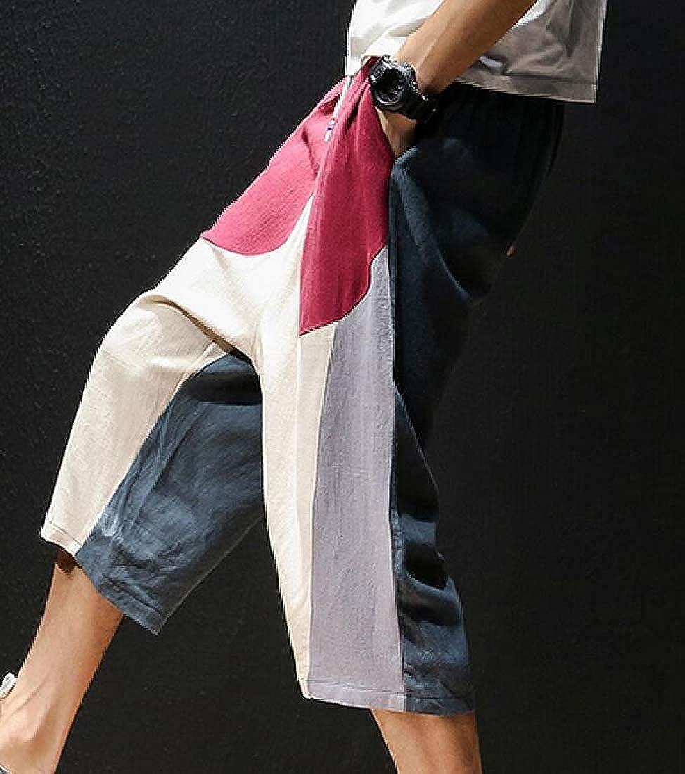 Wofupowga Mens Color Block Cotton Linen Casual Straight Leg Capri Pants