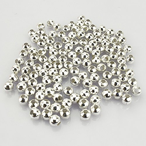 LolliBeads (R) Silver Plated Smooth Round Metal Beads 6 mm 300 Pcs 6mm Round Spacer Bead