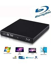 External blu-ray DVD Drive for PC Computer USB 2.0 blu-ray DVD CD Drive/BD - ROM,High Speed, Play blu-ray disc, CD,DVD,Perfect Support xp/win7/win8/win10/Linux System (Black)