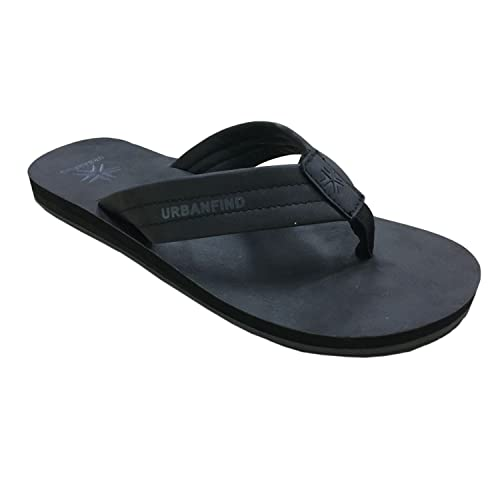 4e55378a456a70 URBANFIND Men s Flip Flops Arch Support Sandals Comfortable Leather Thongs  TPR Non-Slip Slippers Black