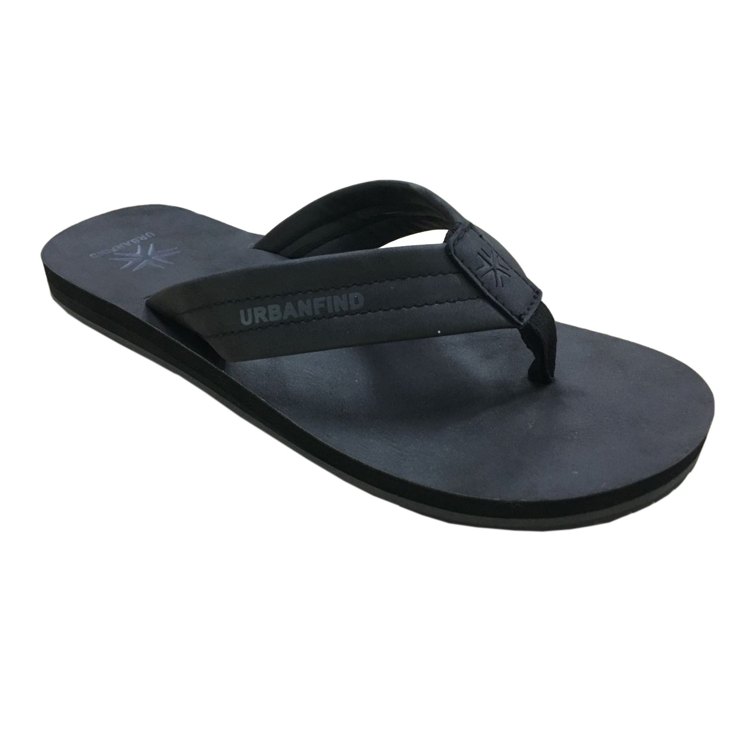 URBANFIND Men's Flip Flops Arch Support Sandals Comfortable Leather Thongs Slippers Black, 8 D(M) US