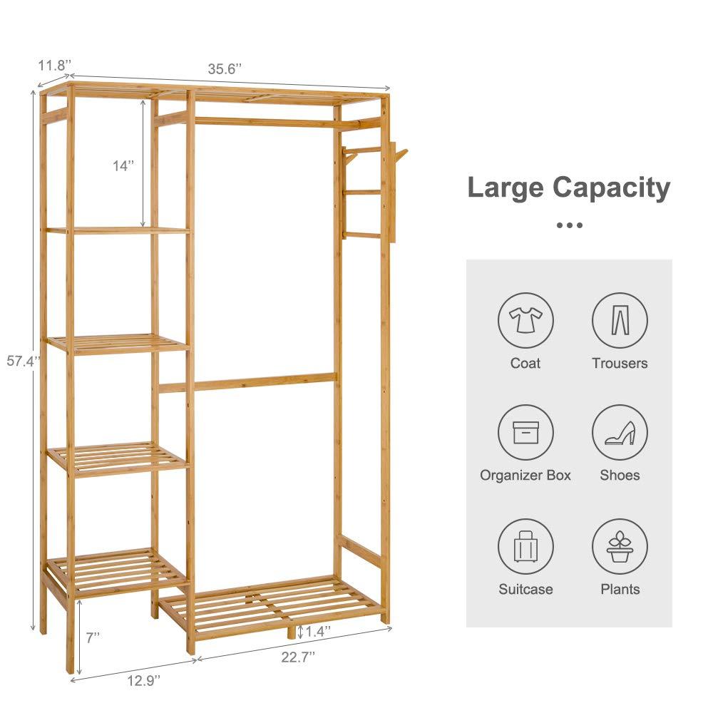 ISINO Bamboo Wood Clothing Garment Rack with Shelves Clothes Drying Hanging Rack Plant Stand for Long Jacket Trousers Shoe and Coat Storage in Home ...