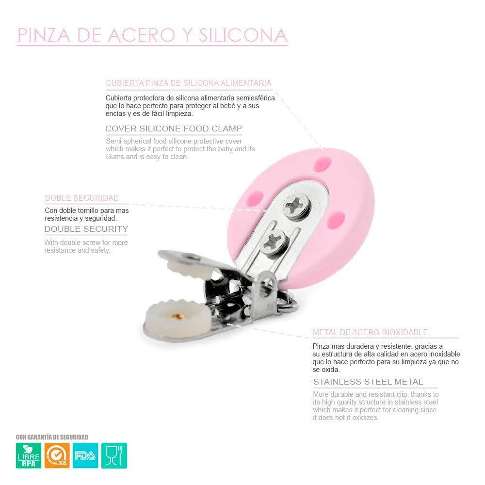 RUBY - Chupetero Personalizado con Mordedor Unicornio, Pinza de Acero Inoxidable con Cubierta de Silicona Antibacteriana Envio desde España (Ardilla)