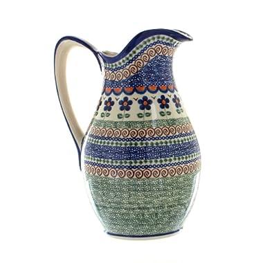 Polish Pottery Aztec Flower Pitcher