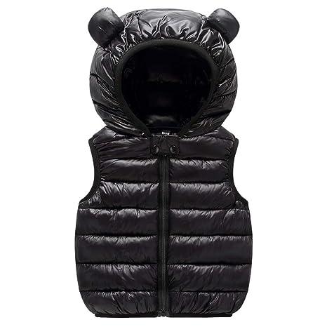 Baby Boys Girls Down Vest Toddler Kids Padded Gilet Lightweight Bodywarmer Sleeveless Puffer Jacket Hooded Quilted Coat Outerwear