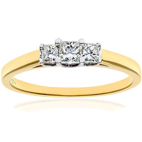 Naava - Anillo para Mujer de Oro Amarillo 18K con Diamante Corte Princesa Talla 8.5
