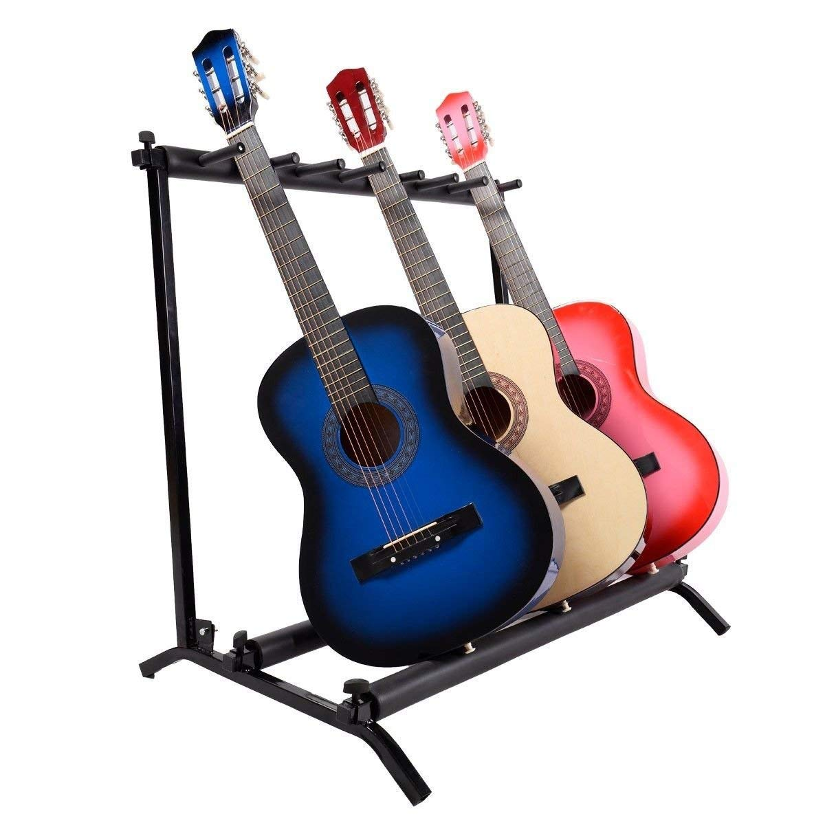 Costzon 7 Piece Guitar Rack Multi-Instrument Holder Stand Acoustic Bass Display Storage Organizer