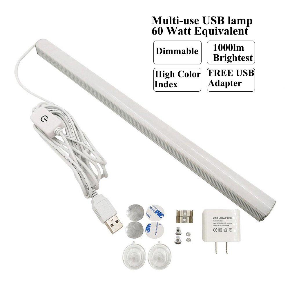 14 inch Dimmable USB 42LED 10W 1000lm 5000K Reading Strips Craft Light Portable Under-cabinet mounting LED Desk Reading Lamp for Work Tables,Makeup mirror,Fish tank,Music Stands, Reading,Mixing Tables