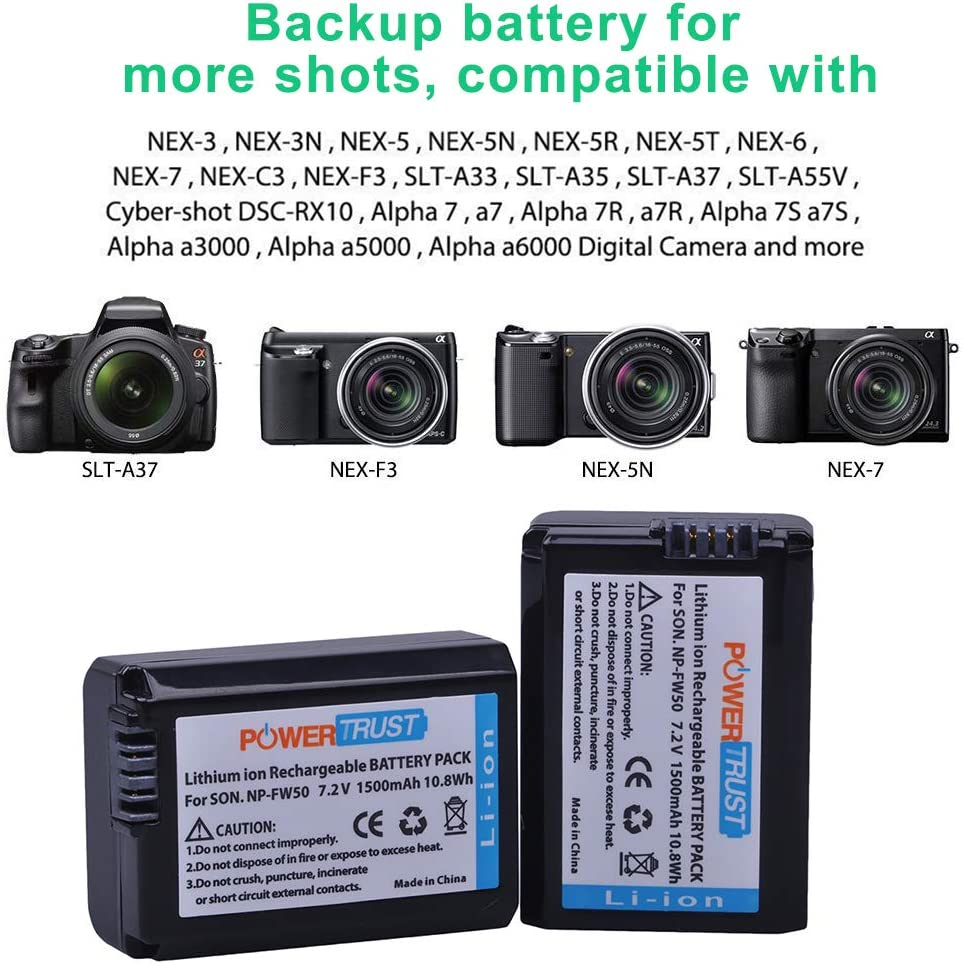 2x NP-FW50 Batteries For  Sony Alpha NEX-3 NEX-5 3C 3D 3DW 3K 5K A33 A55 5C 5DB