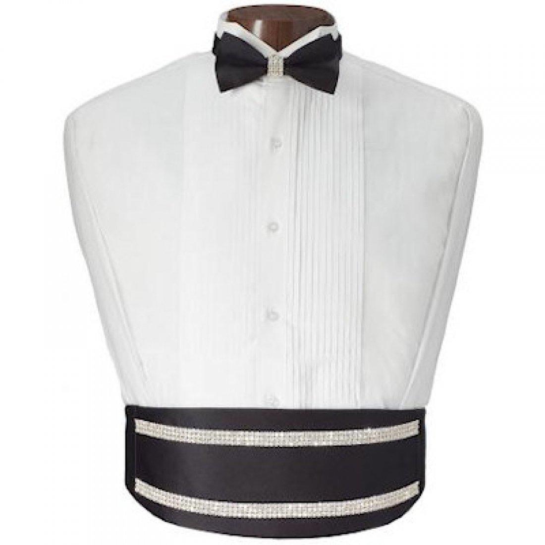 CDM product Rhinestone Shimmer Tuxedo Cummerbund and Bow Tie big image