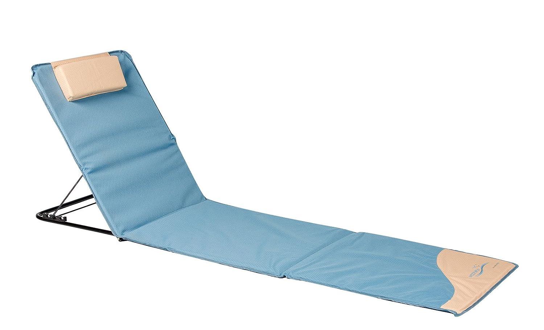Meerweh La Mer Mal Chaise Longue, Tapis de Plage XXL avec Dossier, Bleu, 200x 60cm, 74034