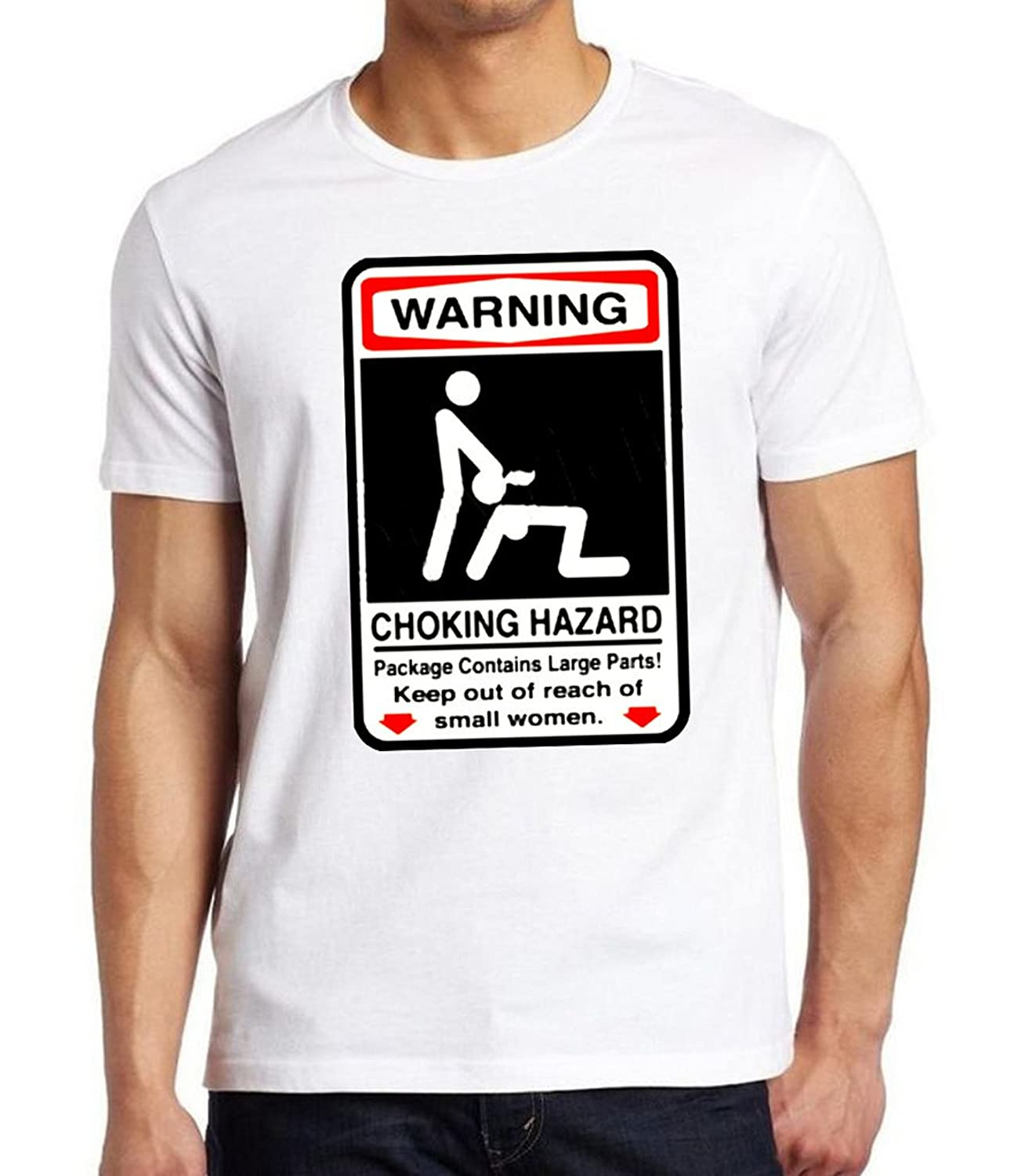 4d2a0381ec00 Top3  Choking Hazard Warning Sign Men s White T-Shirt White