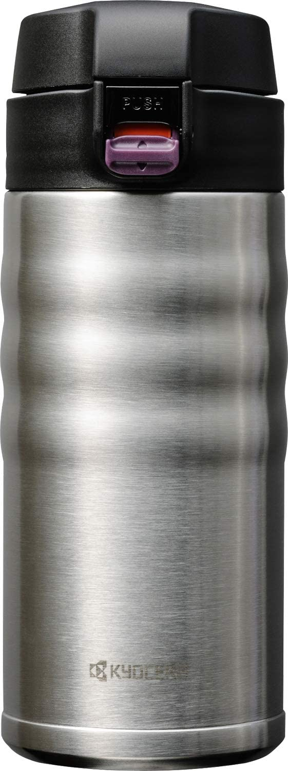 Kyocera MB-12F SS 12oz. Ceramic Coated Interior, Double Wall Vacuum Insulated, Stainless Steel Travel Mug-Stainless Steel
