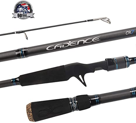 Actions for Spinning Reels Fishing Rod with 30 Ton Carbon,Fuji Reel Seat,Durable Stainless Steel Guides with SiC Inserts,Full Assortment of Lengths Cadence CR5 Spinning Rod