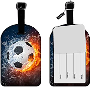 Nicokee Cool Soccer Ball Art,Amazing Football Pattern Luggage ID Tags Suitcase Carry-On Cards Leather Luggage Tags Travel Accessories Lables
