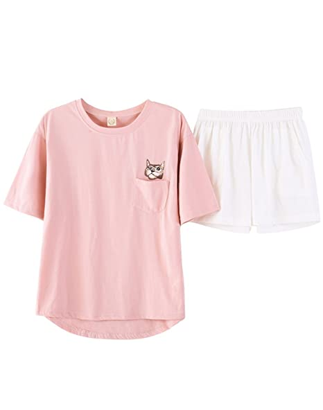 BAIYIXIN Fashion Store Girls Cute Panda Summer Shorts Pajamas Set For Young Big  Girl  5f86e1dec