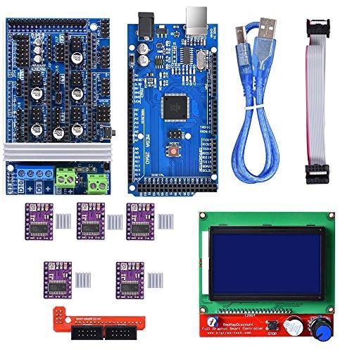 BIQU Mega2560 Control Board + LCD 12864 Graphic Smart Display Controller Module + Ramps 1.6 Mega Shield+DRV8825 Stepstick Stepper Motor Driver with Heat Sink for 3D Printer Arduino Reprap by BIQU