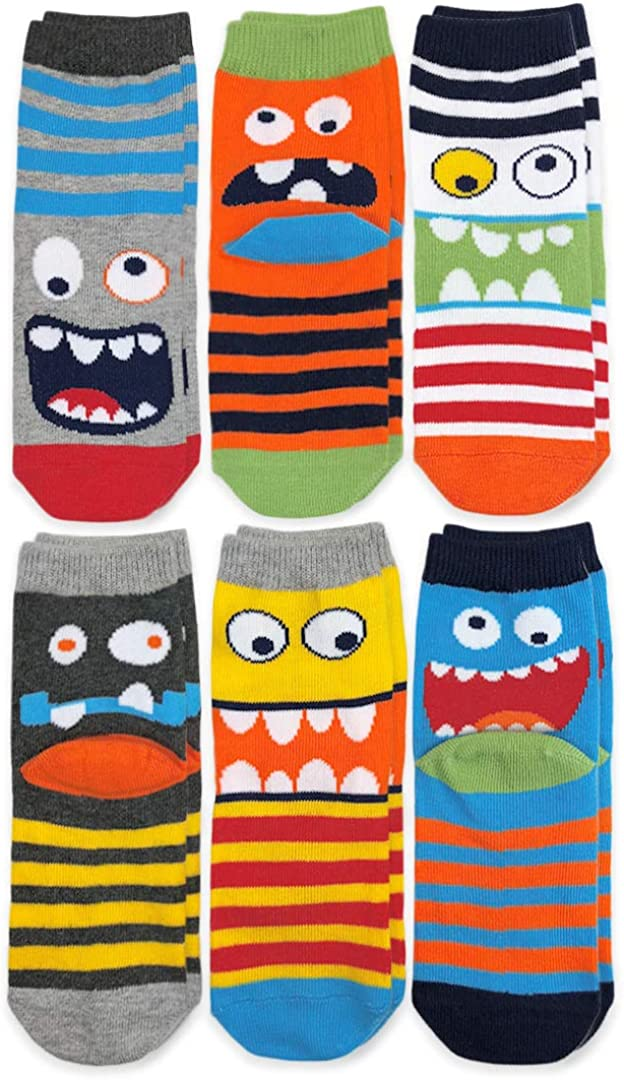 Jefferies Socks Boys' Little Monster Pattern Crew Socks 6 Pair Pack, Multi