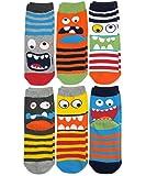 Calcetines Jefferies para niño, diseño de monstruo, 6 pares, multicolor