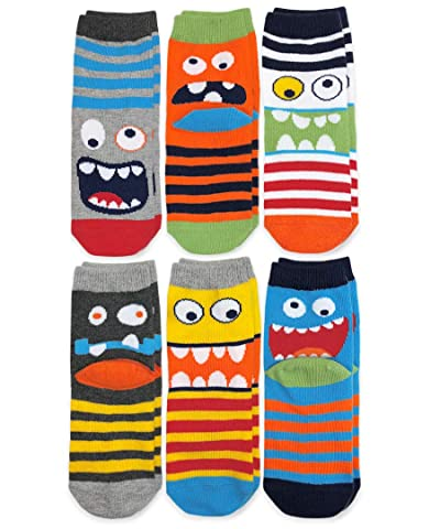 Jefferies Socks Boys' Little Monster Pattern Crew Socks 6 Pair Pack