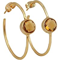 Beautiful Handmade Gold Plated Hydro Citrine Round Hoop Earrings EJ-1051-15
