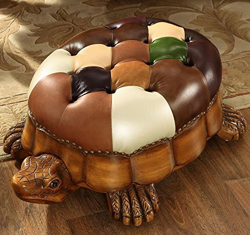 (HM&DX Wood Ottoman Footstool,Leather Upholstered Vintage Turtle Footrest Stool with Wheels-Brown)