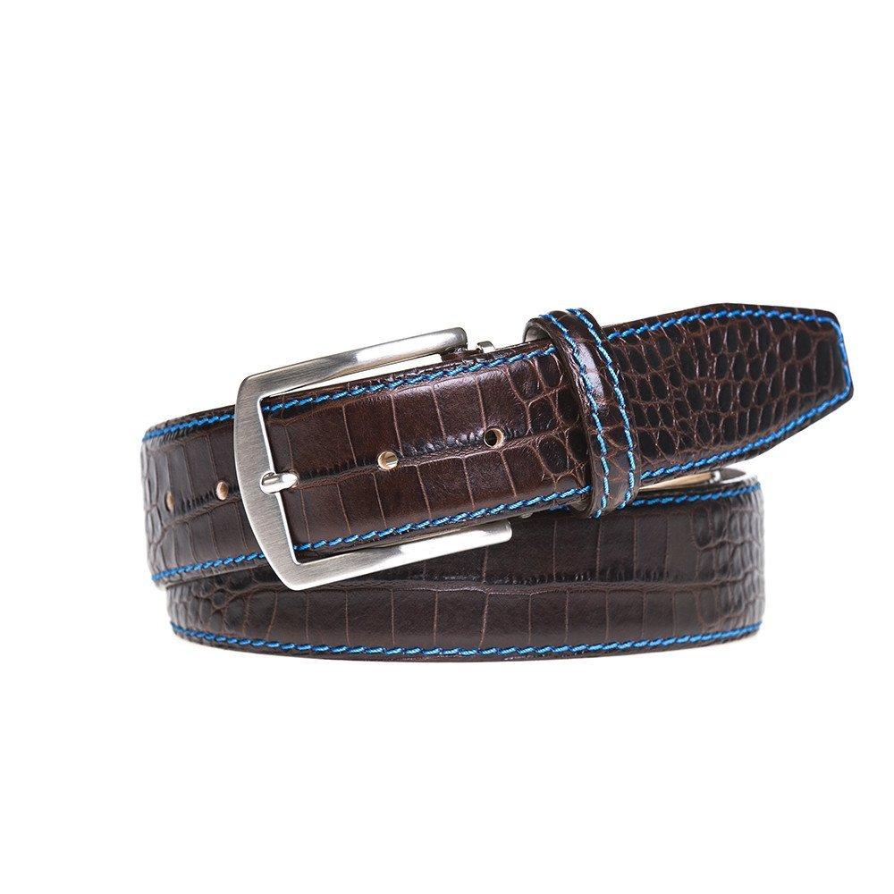 Dark Brown Italian Mock Croc Leather Belt