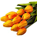 Sungpunet 10PCS/LOT high quality PU Stunning Holland mini tulip flower real touch wedding flower artificial flowers silk plants for room home hotel party Event christmas gift decoration multi-color (orange)
