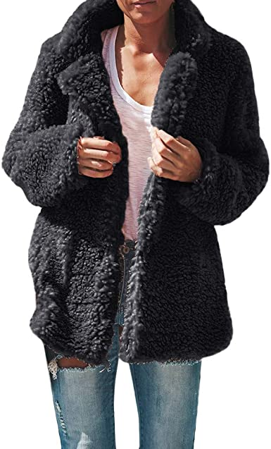 : WUAI Women Casual Lapel Fleece Fuzzy Jacket