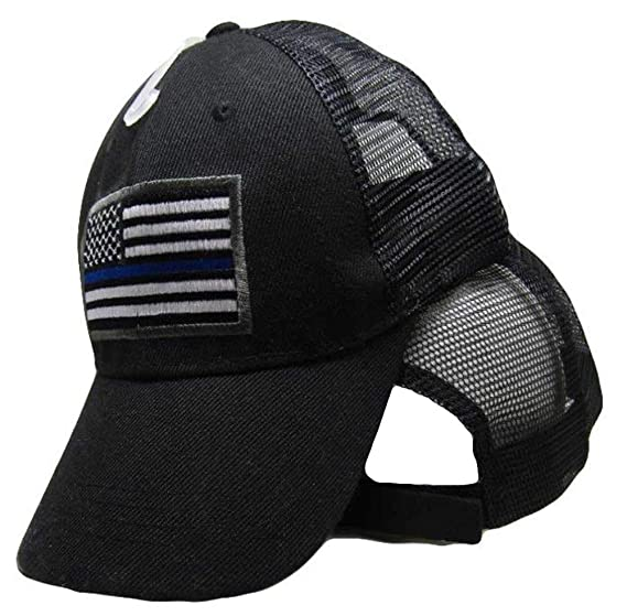 86f6ffd635d479 Image Unavailable. Image not available for. Color: AES USA American Thin  Blue Line Trucker Mesh Black 3D Embroidered Cap Hat