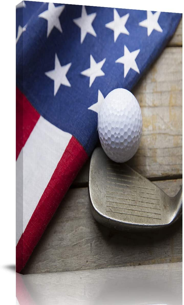 Big buy store Canvas Wall Art Picture Golf American Flag Wooden Print On Canvas Giclee Artwork Sports Home Office Decorations Wall Decor Ready to Hang - 24x16 inches