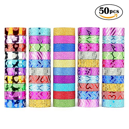 Glitter Washi Tape,50 rolls Decorative Tape for Arts and Crafts, Scrapbook,DIY,Gift Wrapping,Party Supplies, Multi-purpose with Colorful Designs and Patterns by - Glitter And Crafts Arts