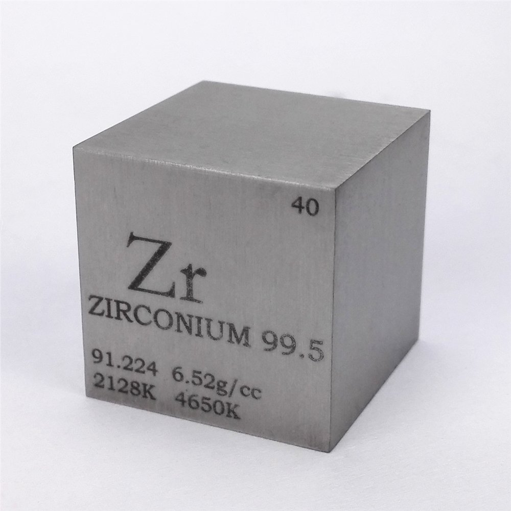 1 inch 25.4mm Zirconium Metal Cube 99.5% 107g Engraved Periodic Table Chinaium