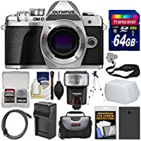 Olympus OM-D E-M10 Mark III 4K Micro 4/3 Digital Camera Body (Silver) with 64GB Card + Case + Flash + Battery & Charger + Tripod + Strap Kit